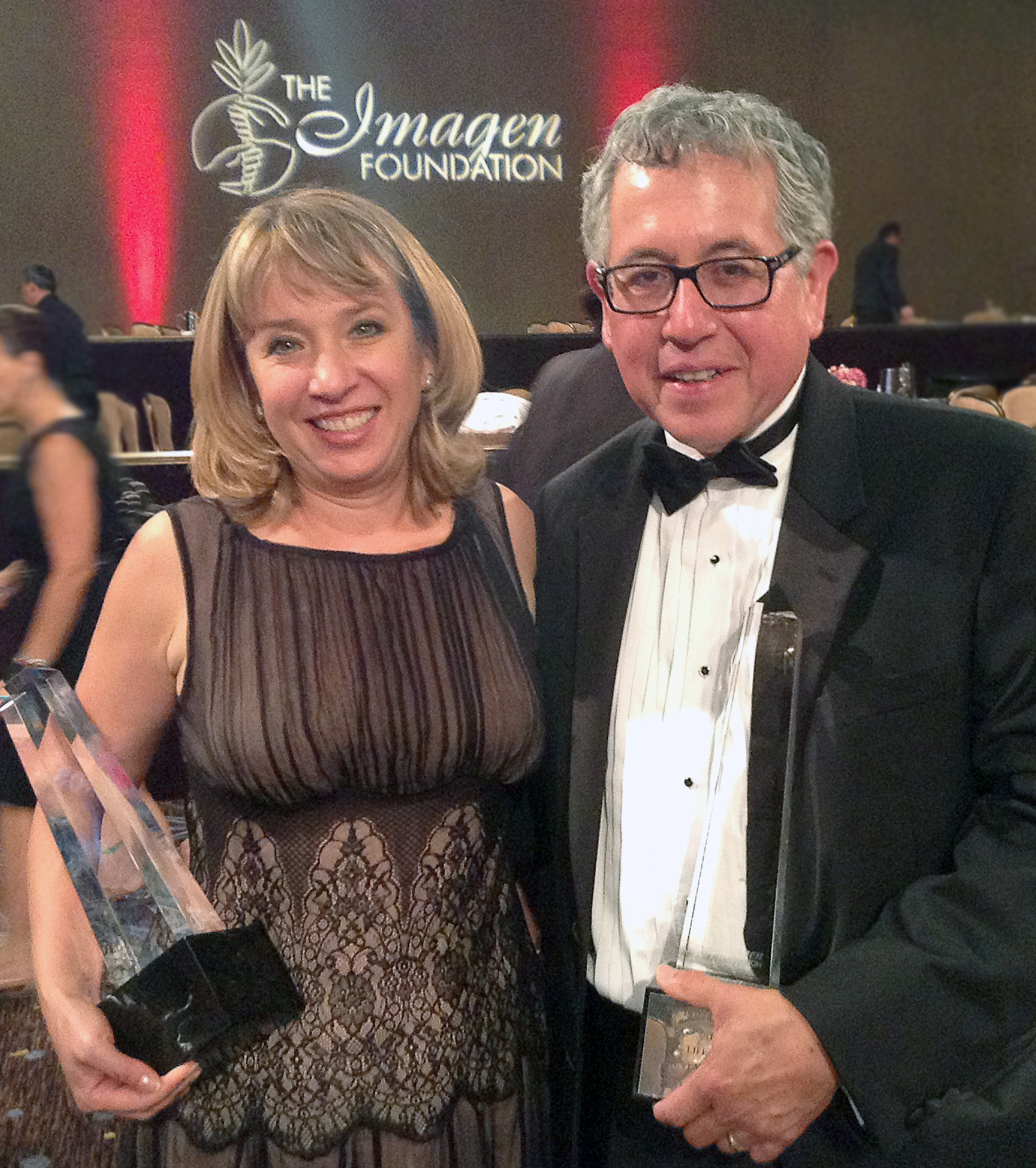 Wendy Thompson-Marquez Producer of Imagen Best Documentary of the Year Award and Jesus Salvador Trevino who received Imagen Lifetime Achievement Award.