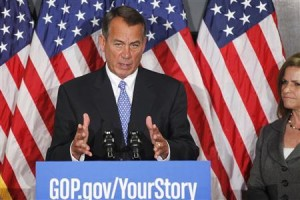 Boehner with Rep. Lynn Jenkins (R-KS).  Photo Credit: Reuters/Jonathan Ernst